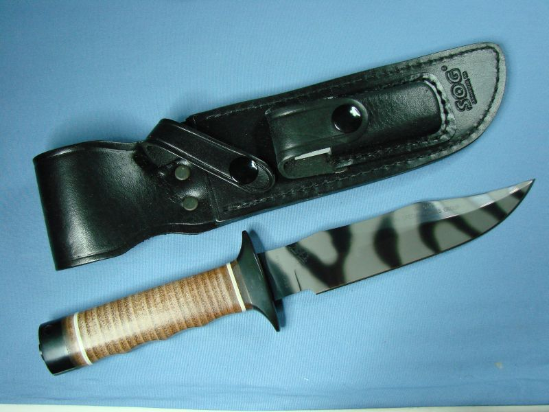 "SOG S1 Bowie Tigerstriped with leather sheath and sharpening stone. (Photo:""70chevelless"" - bladeforums)"