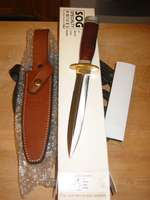 SOG Desert Dagger (Leather) with accessories - box, leather sheath, papers (Photo:Sam Pessin)